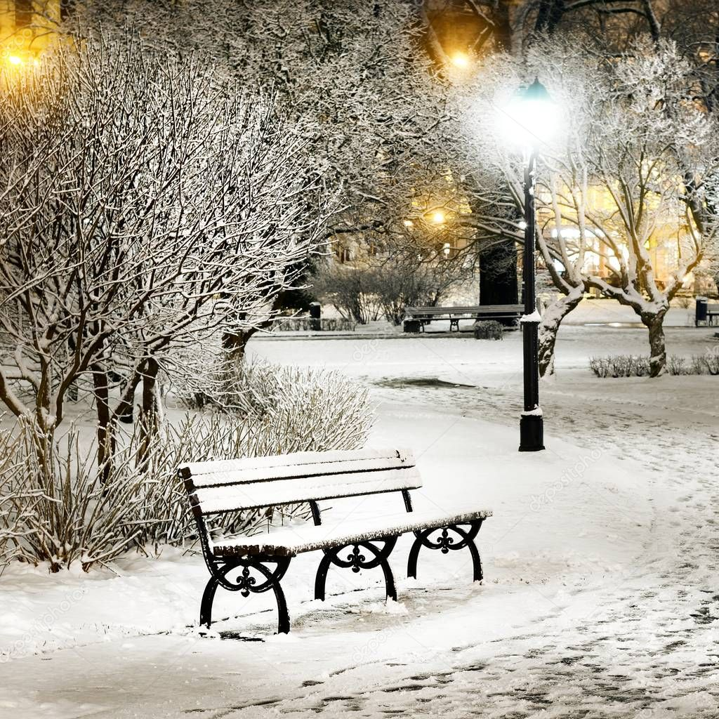 Snow on trees and benches in old town park of Riga