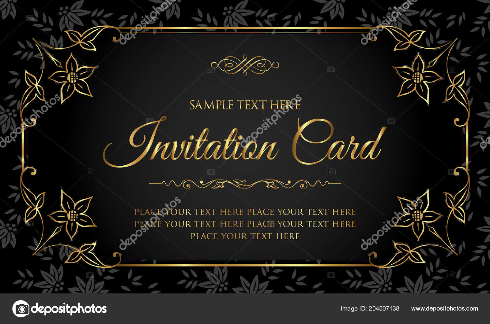 Invitation black and gold | Luxury Black Gold Invitation Card Vintage Style  — Stock Vector © bluepencil #204507138