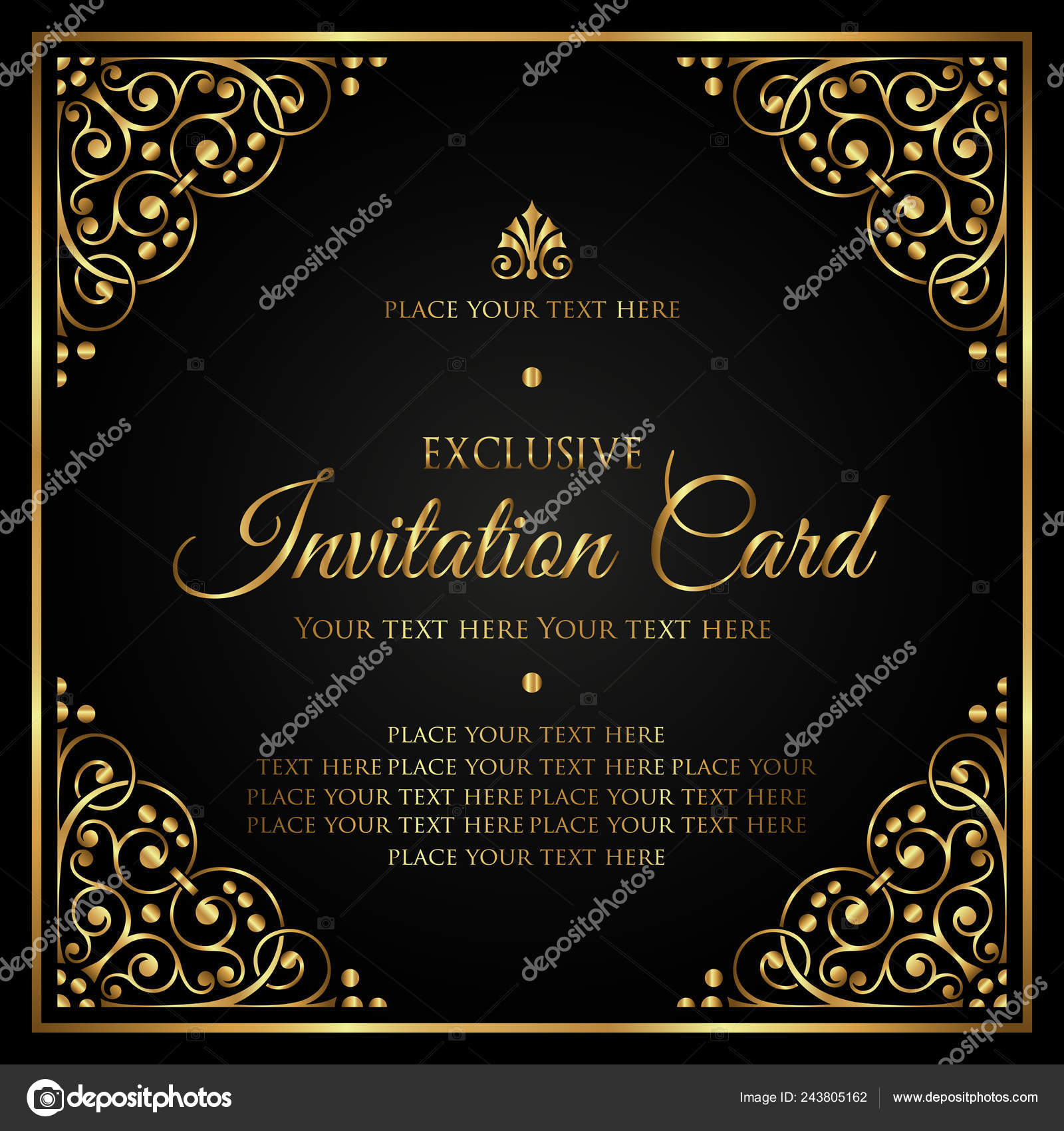 Invitation Card Template Luxury Black And Gold Vector