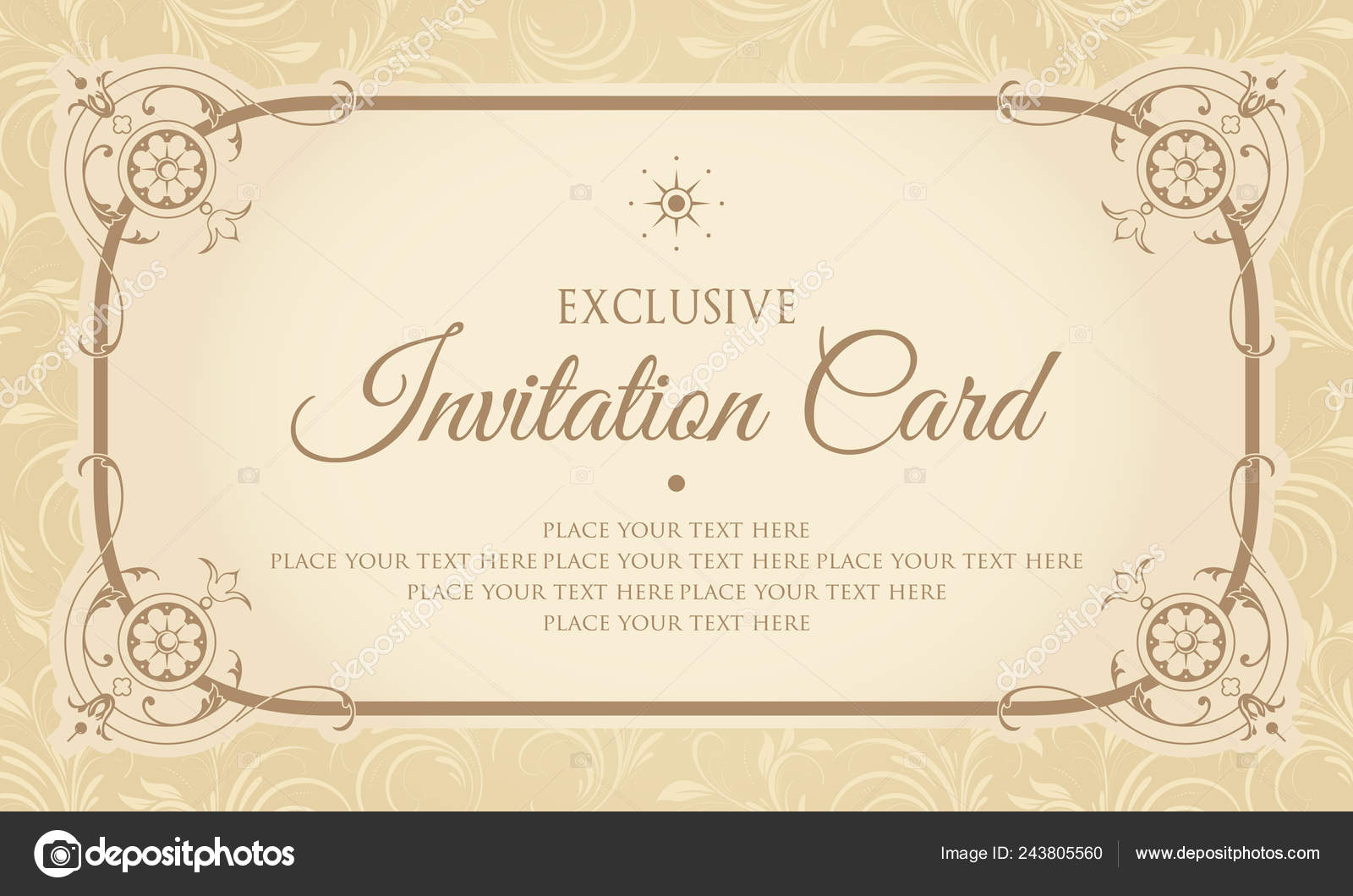 Exclusive Invitation Card Design Vintage Style Stock