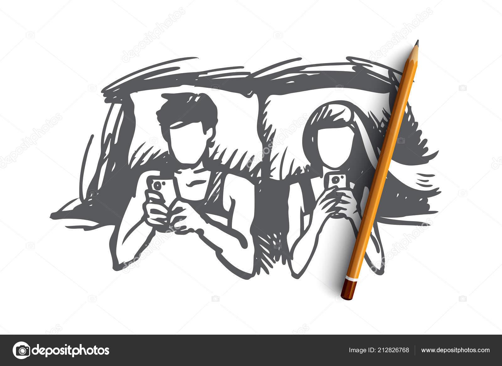 Paar Bett Smartphone Suchtig Konzept Hand Gezeichnet Isoliert