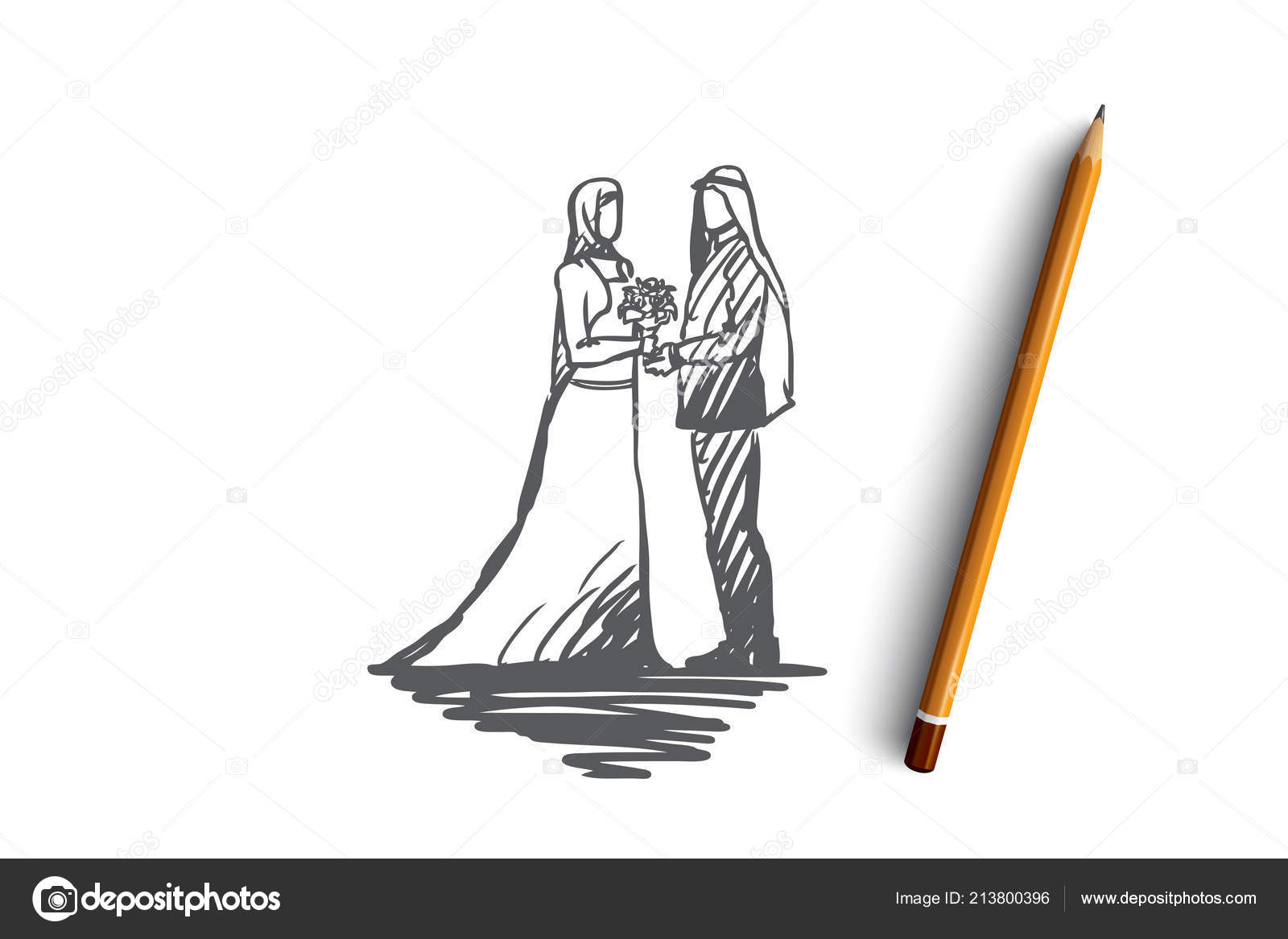 Wedding groom bride couple muslim concept hand drawn muslim wedding groom and bride concept sketch isolated vector illustration vector by