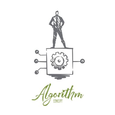 Algorithm, business, information, system, digital concept. Hand drawn isolated vector.