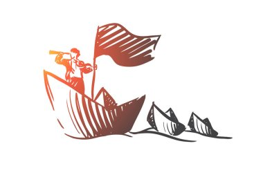 Strategy, course, boat, view, businessman concept. Hand drawn isolated vector.