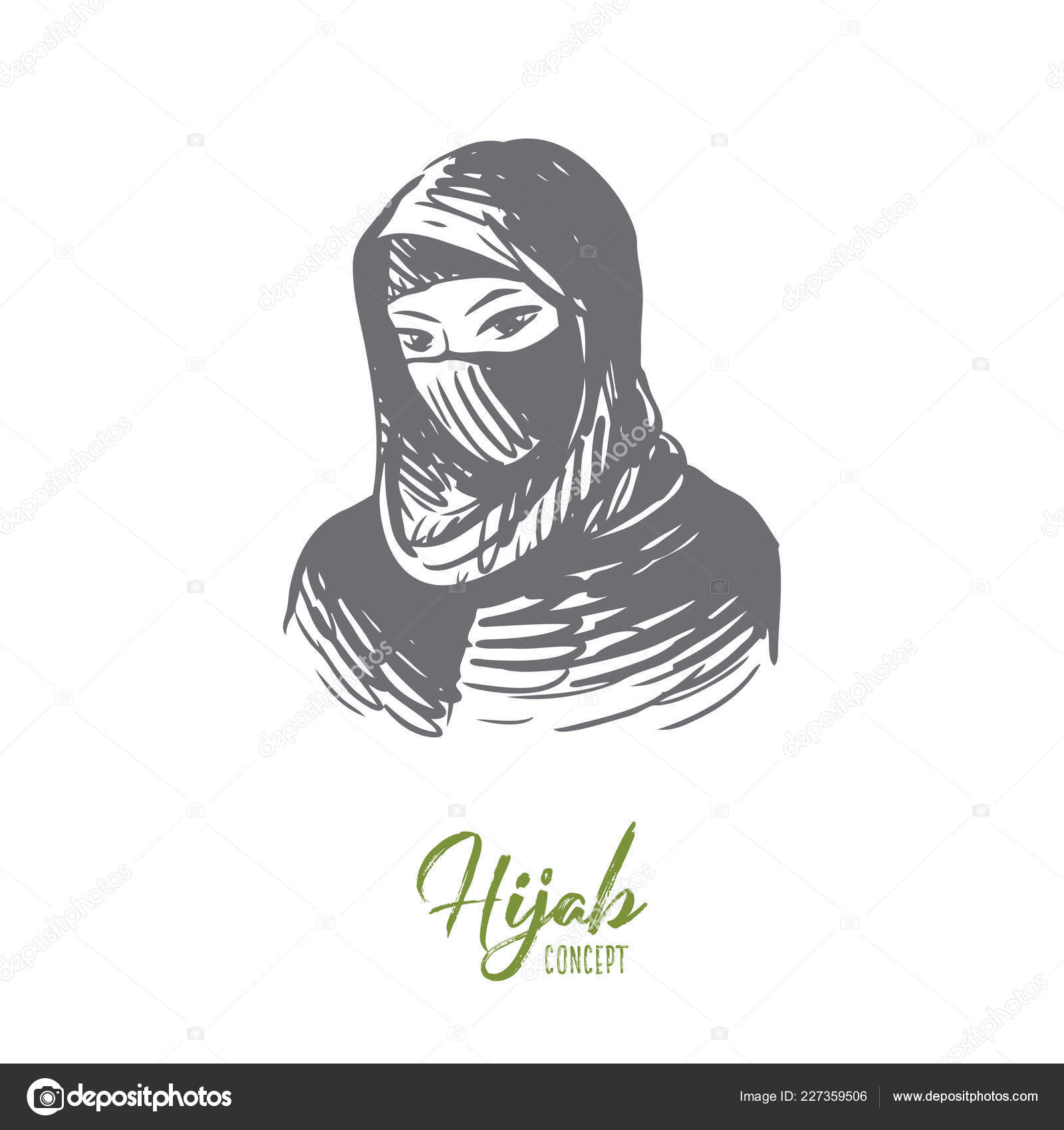 Woman hijab girl islam young concept hand drawn portrait of young muslim woman in hijab concept sketch isolated vector illustration