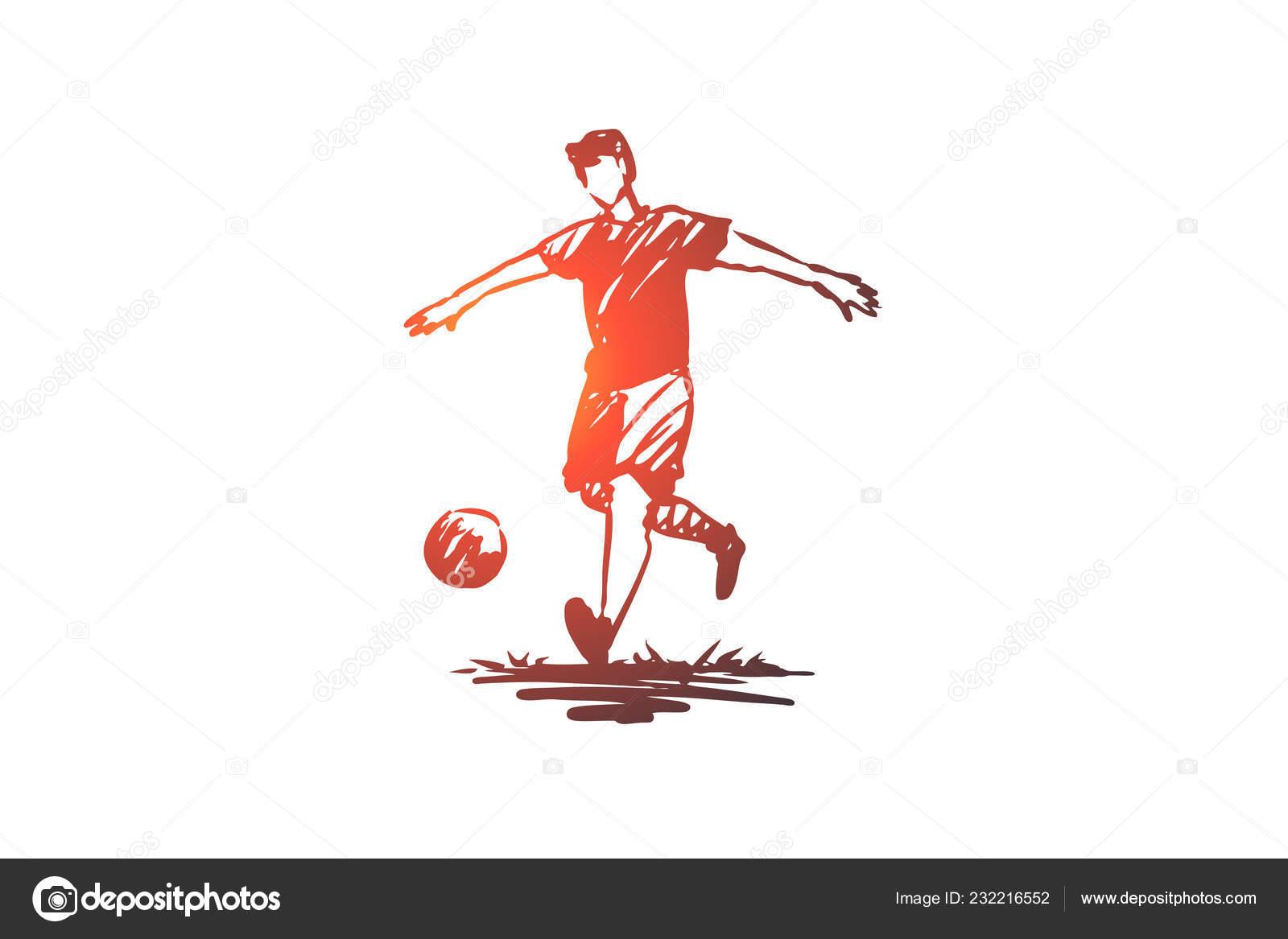 Fussball Spieler Fussball Spiel Handlungskonzept Hand