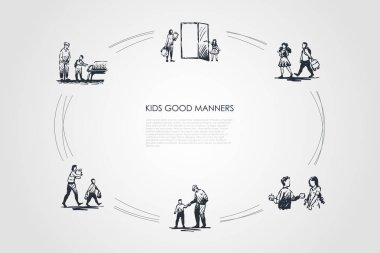 Kids good manners - boy helping girl to carry bag, giving piece of food, helping old people to walk, sit and carry bags vector concept set