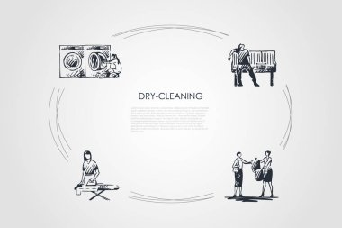 Dry-cleaning - ironing, chemical cleaning, machine washing, drying vector concept set