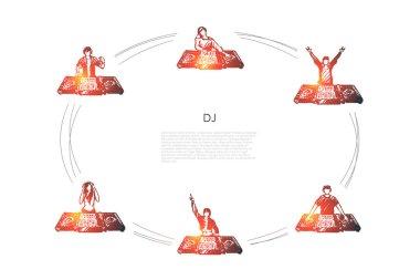 DJ - men and women DJs in headphones playing music vector concept set