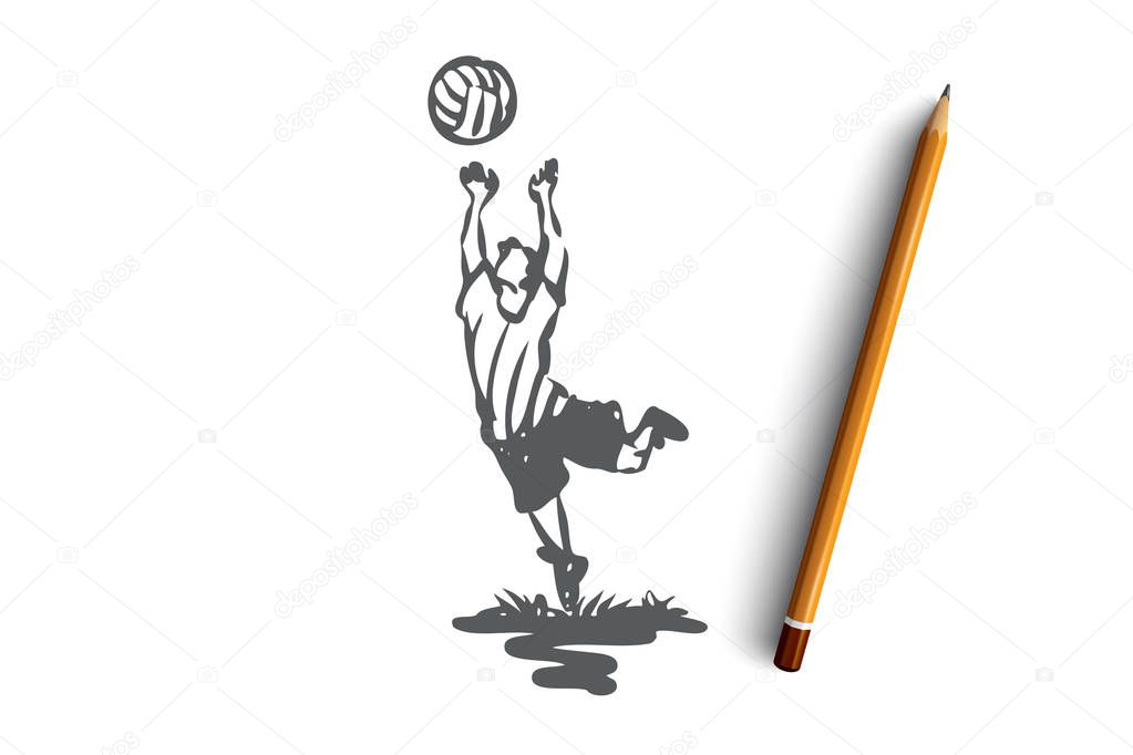 Boy, volleyball, sport, play, active concept. Hand drawn isolated vector.