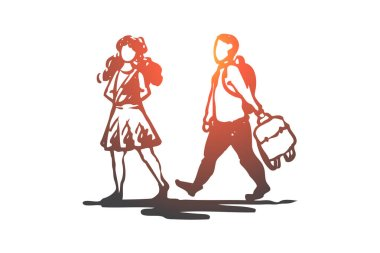 Kid, good, manners, girl, boy, bag concept. Hand drawn isolated vector.