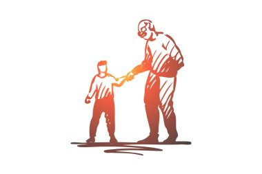 Kid, good, manners, boy, help, grandfather concept. Hand drawn isolated vector.
