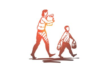Kid, good, manners, boy, bag, mom concept. Hand drawn isolated vector.