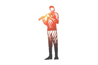 Flute, musician, man, instrument, play concept. Hand drawn isolated vector.