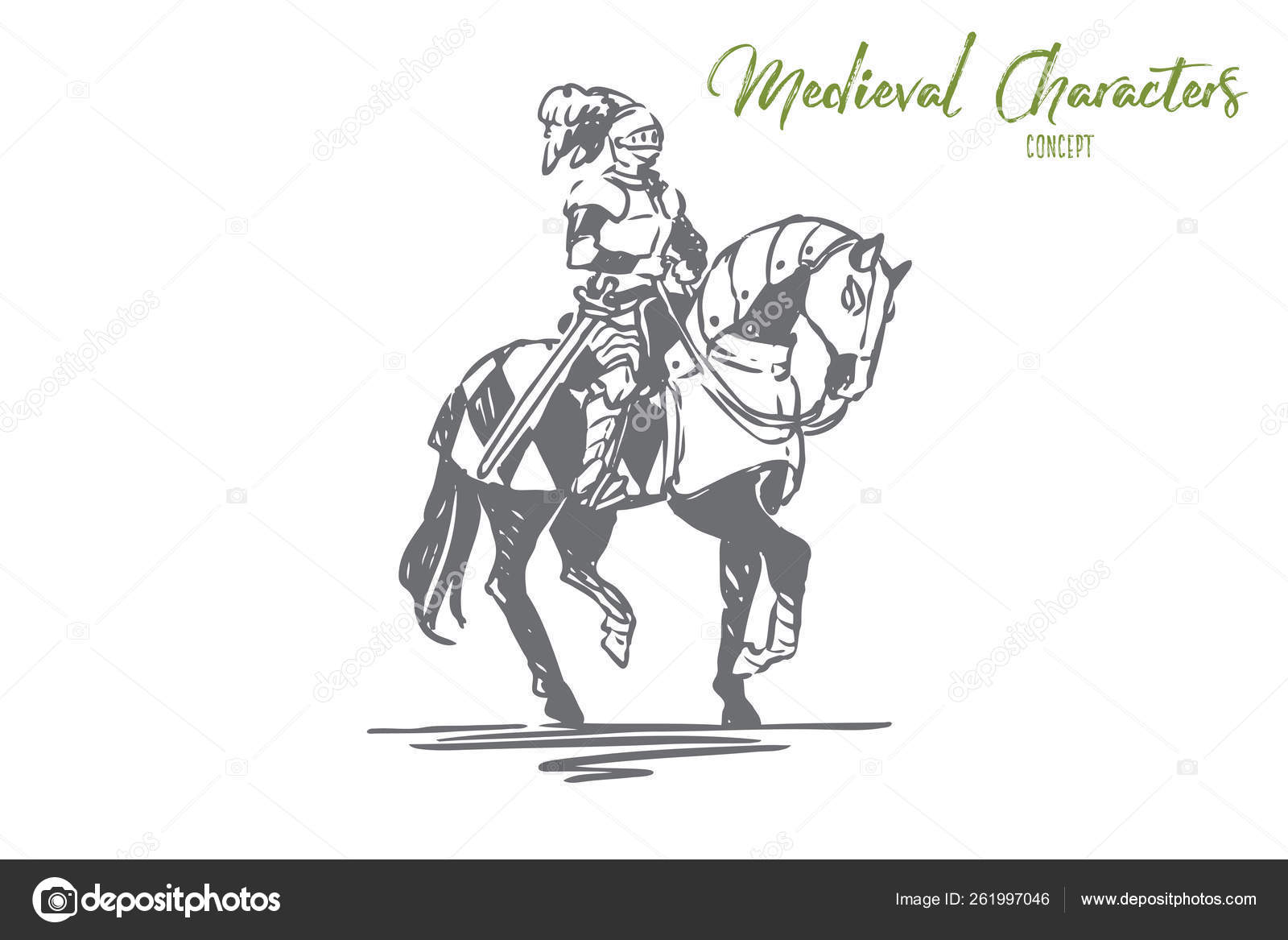 Knight Horse Medieval Character Armor Concept Hand Drawn Isolated Vector Stock Vector C Elada 261997046