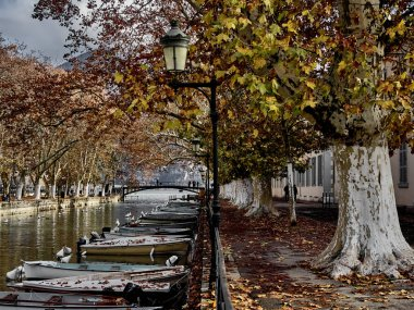 Annecy, France - December 07, 2018 - Shot of the canal which bri