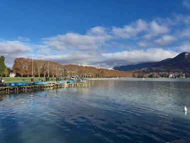 Annecy, France - December 07, 2018: Shot of the lake of Annecy a
