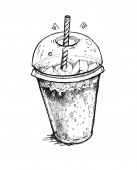 Fotografie Transparent glass with milkshake or cocktail. The cup with drink isolated on a white background. Graphic hand drawn illustration.