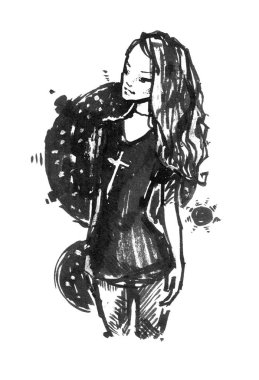 Graphic sketch style illustration with a woman in a black dress. Ink handmade drawing. Modern fashion illustration.