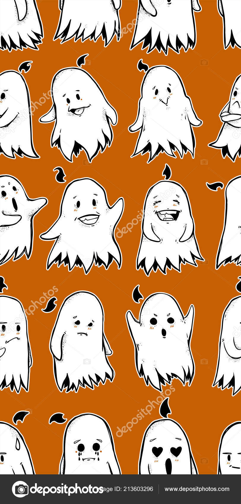 Seamless Texture Little Funny Ghost Character Repeating Pattern