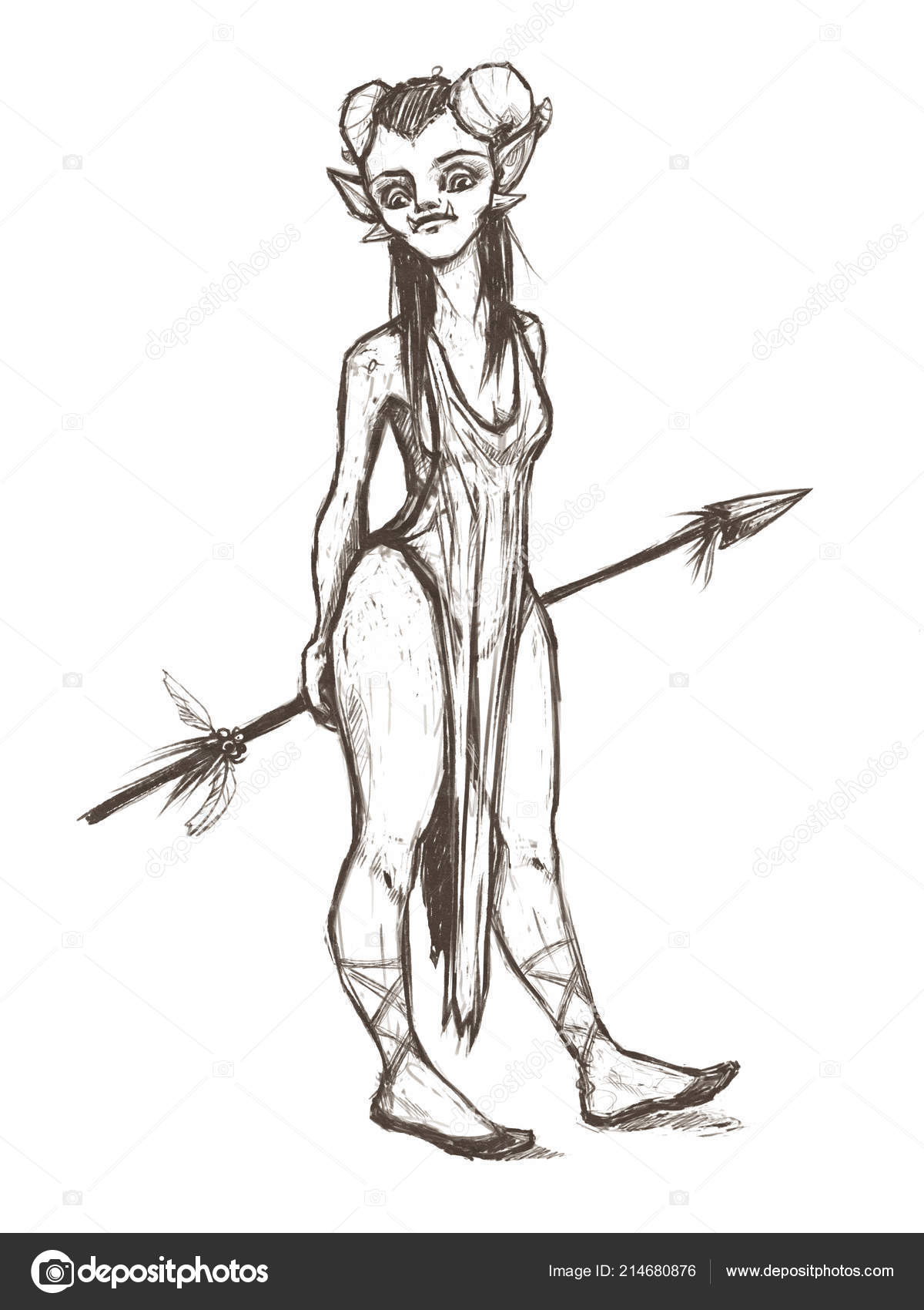Orc princess girl horns spear pencil illustration fantasy creature stock photo