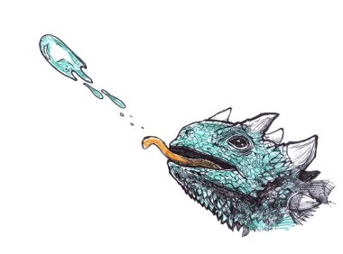 Green lizard spits poison. Hand drawn animal illustration.