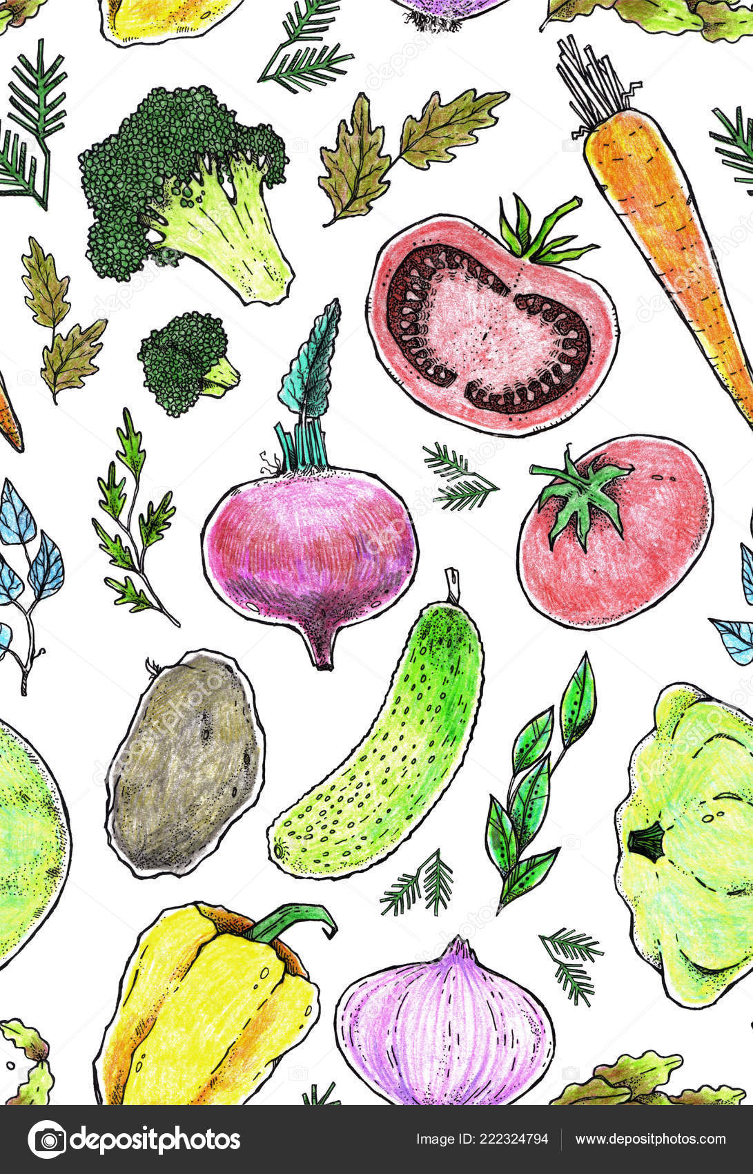 Seamless Texture Vegetables Repeating Pattern Can Used Wallpaper