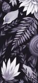 Sfondi natura bellissima. Illustrazione di pittura digitale. Fiori e foglie su sfondo scuro.