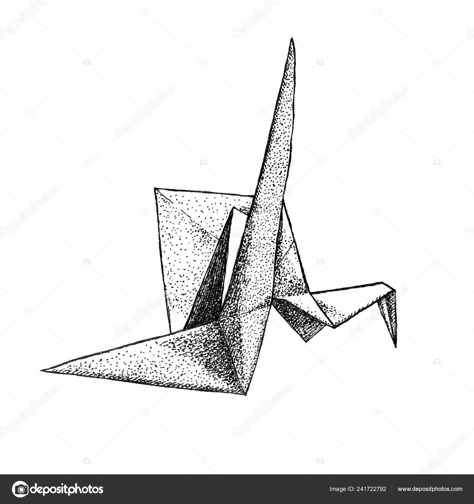 Origami Crane Drawing - Free Transparent PNG Clipart Images Download | 1700x1600