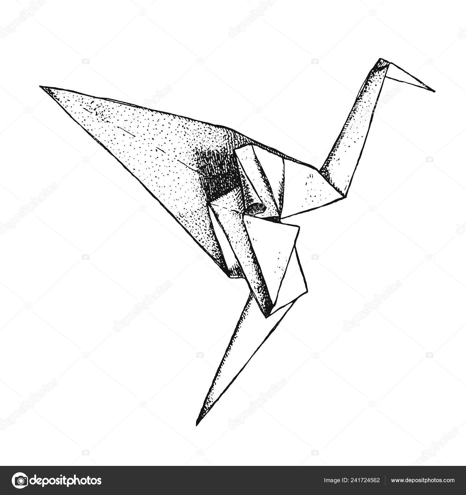 Origami Crane Isolated Background East Art Origami Paper Bird Hand