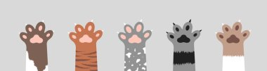 Fluffy cat paws collection. Set of various cute kitten foot silhouettes isolated on white background. Animals and pets concept. Vector illustration in cartoon style icon