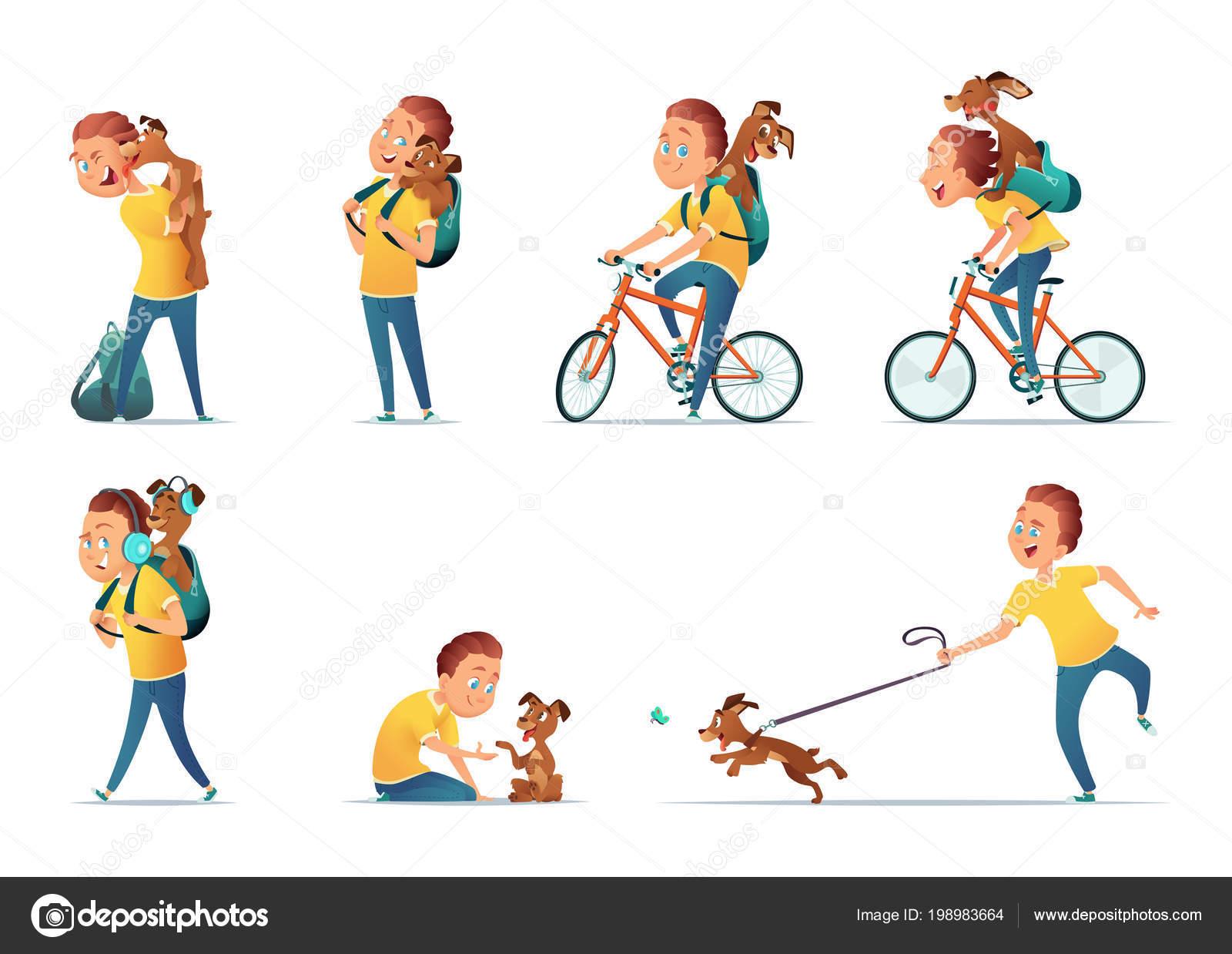 с детские картинки собакой мальчик