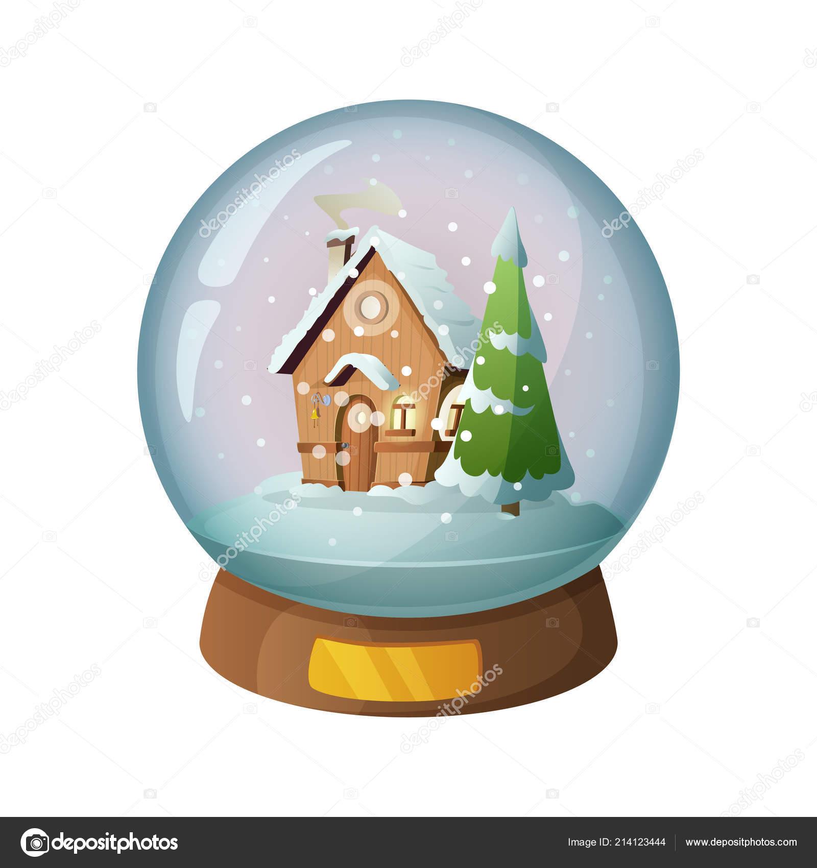 Globe de verre de neige dessin animé avec la maison de noël à lintérieur illustration vectorielle illustration de stock