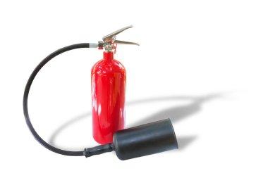 Beyaz arka plan üzerinde izole kırmızı yangın söndürücü kuru kimyasal