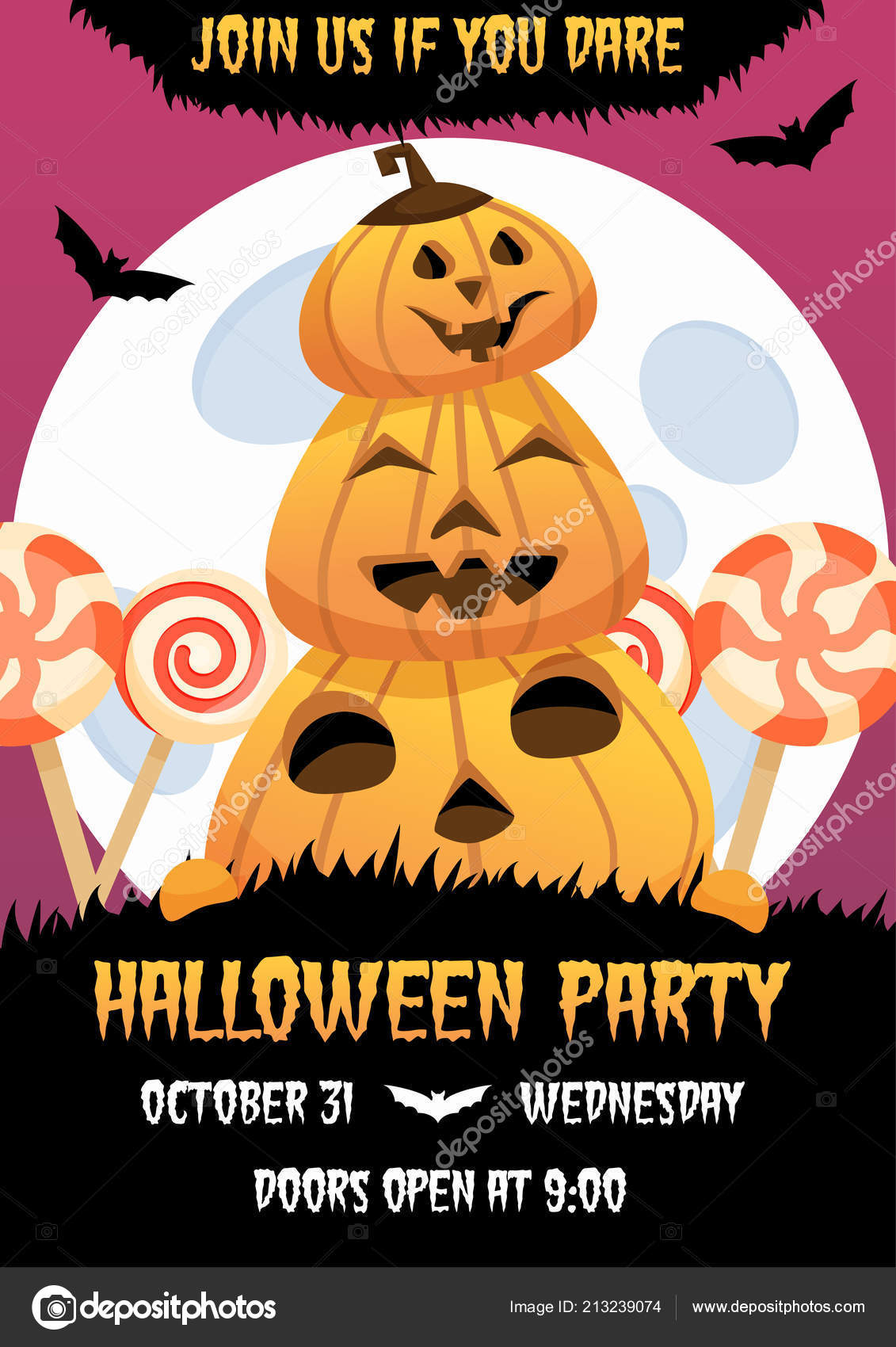 Happy Halloween Invitation Poster With Smiling Pumpkin And Candies On Background Greeting Card Scary Party Flyer Spooky Banner For Celebrating Holiday
