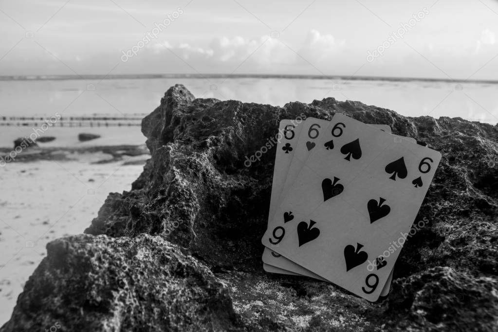 poker card gamble theme three of a kind triple six