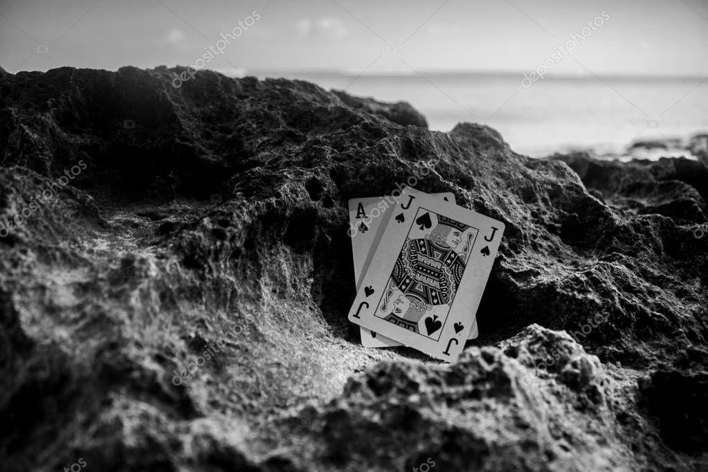 black jack poker cards, gamble beach theme