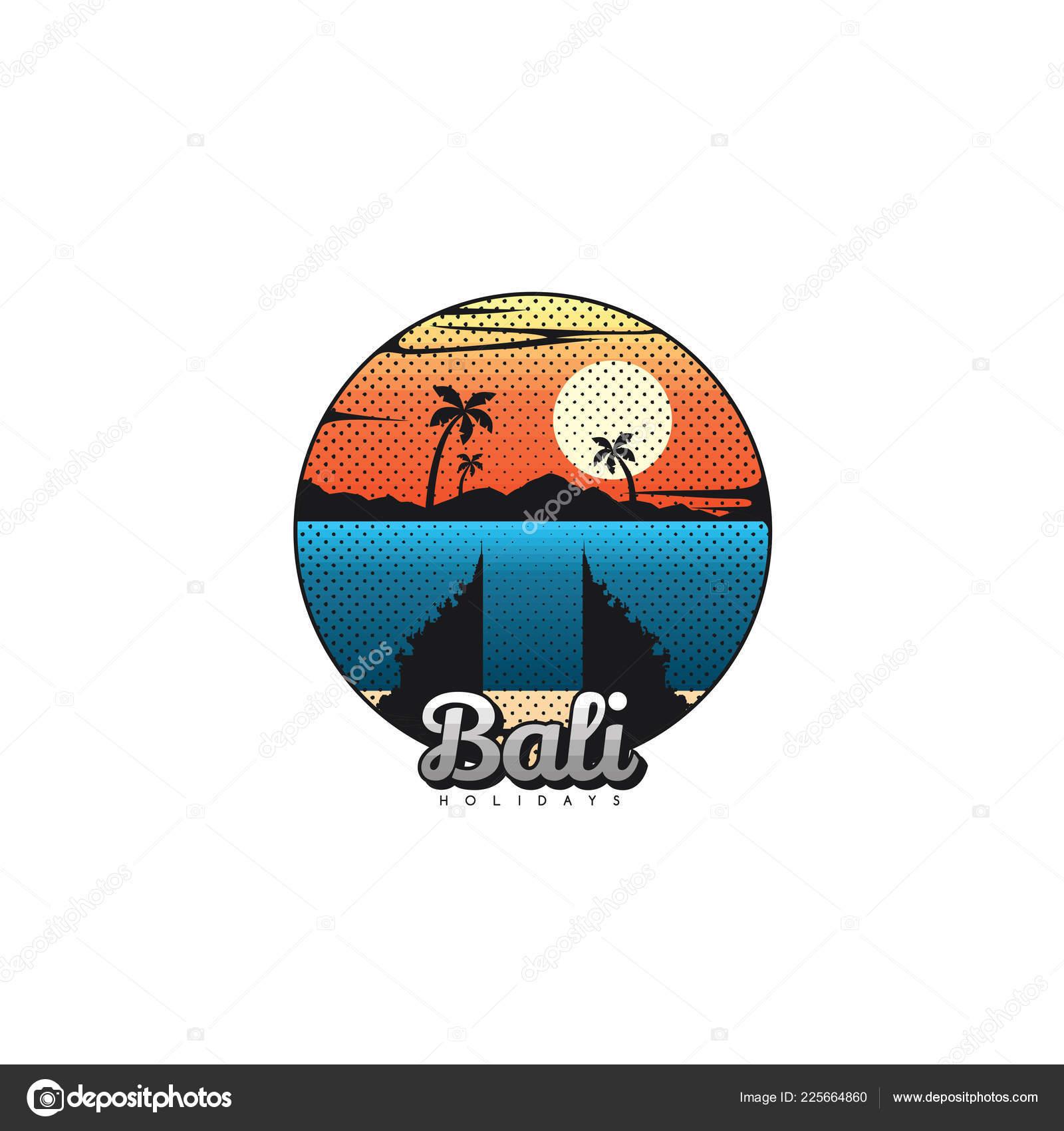 Vector Illustration Lettering Bali Island Ocean Summer Vacation