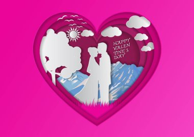 Men and women stand together in the midst of nature in Heart shaped color pink