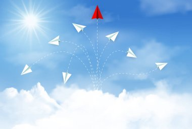 paper airplane red and white competing go to target up to the sky between cloud.