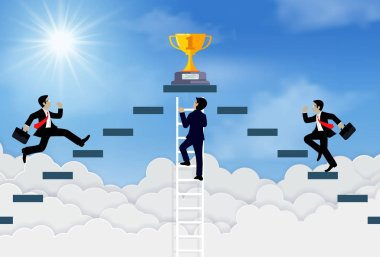 Three businessmen climb the ladder to the goal on the trophy on sky.
