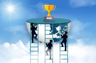 Three businessmen competition climb the ladder to the goal on the trophy on sky. To be one of the highest achievers. business advancement and higher success and leadership in the highest organization