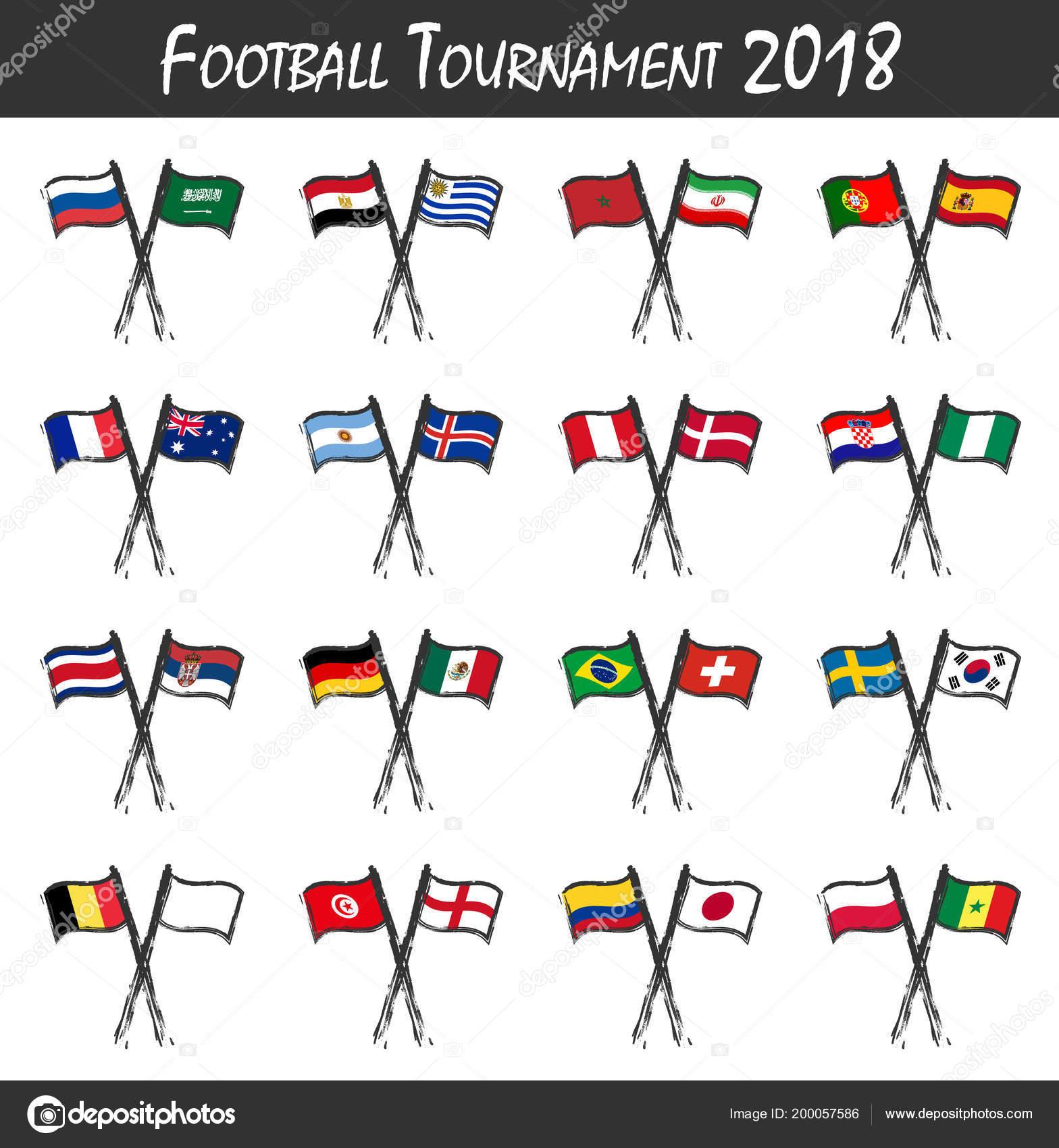 Satz Von Fussball Team Flaggen Sport Spiel Konzept Aquarell