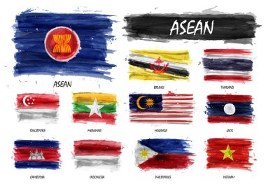 Realistic watercolor painting flag of ASEAN ( Association of Southeast Asian Nations ) and membership on isolated background . Vector .
