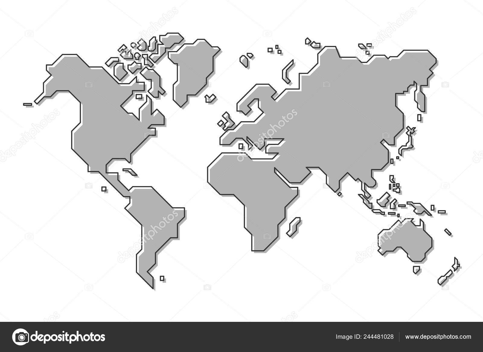 World Map Simple Cartoon Outline Style Vector Stock Vector