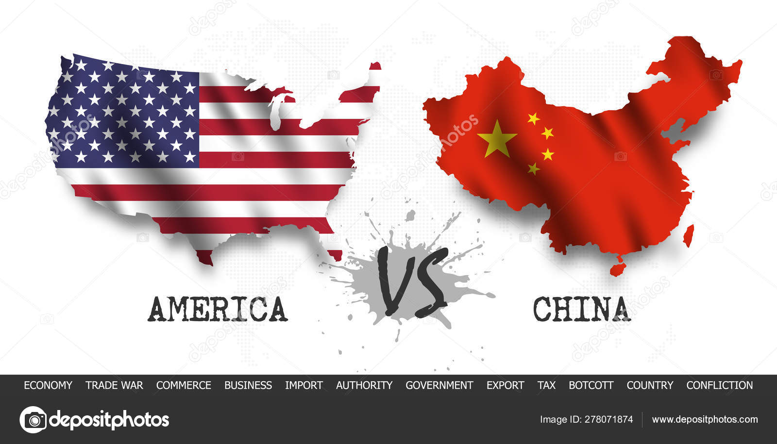 Trade war . United states of america Versus China . Waving ...