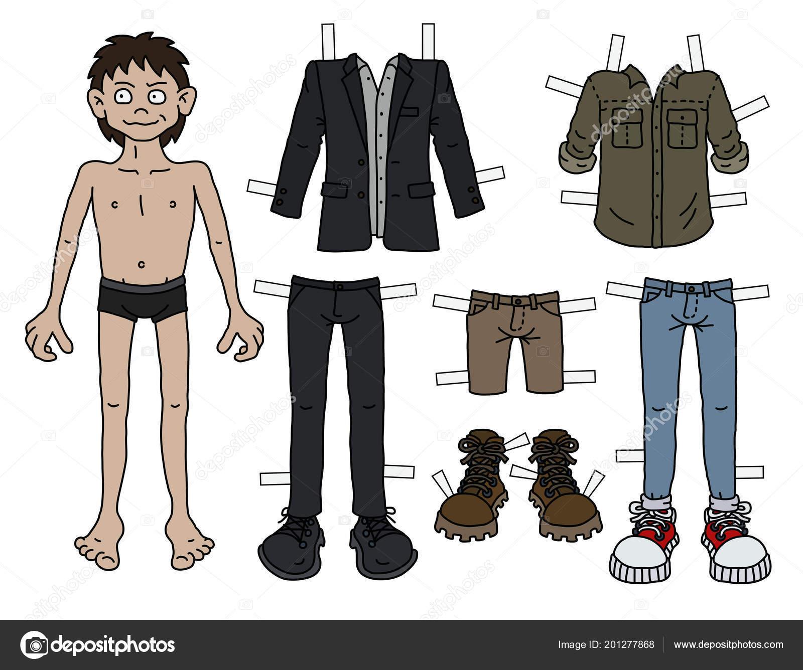 Paper Doll Funny Boy Cutout Clothes Stockvektor