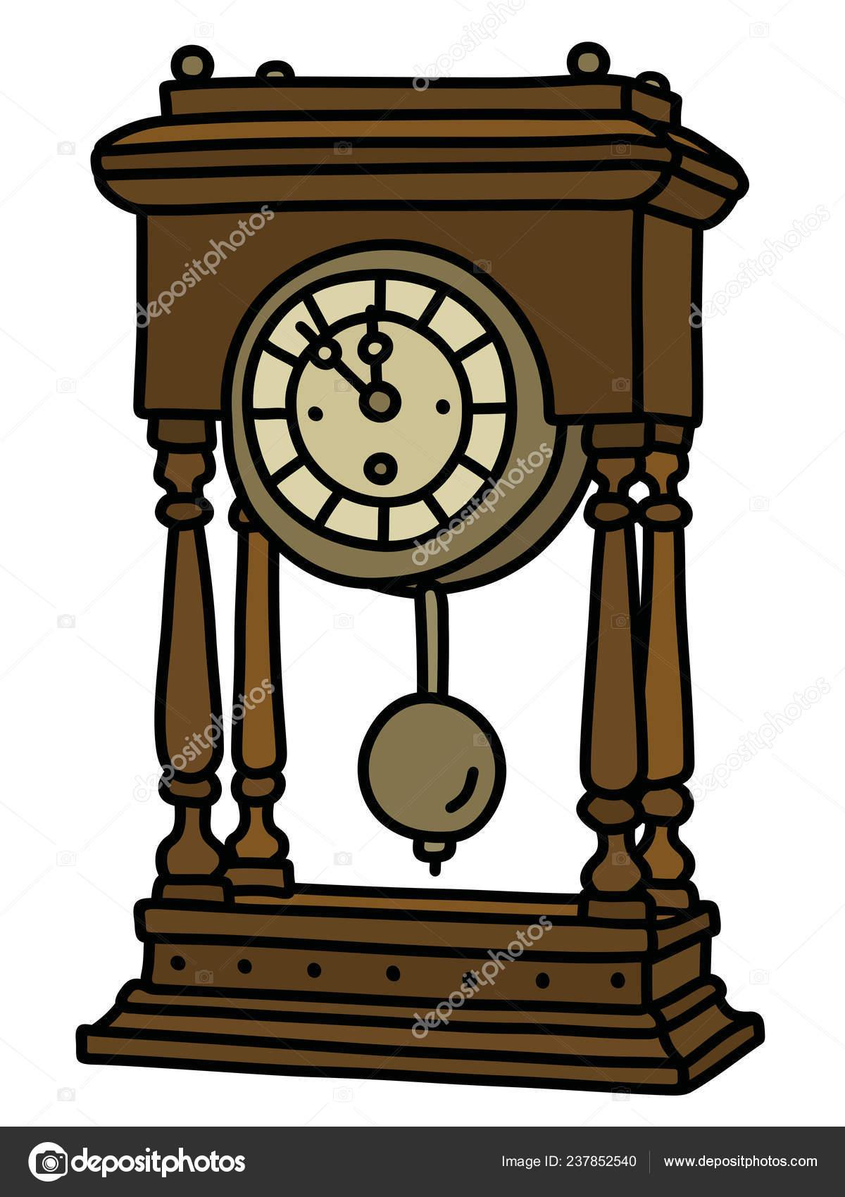 Vectorized Hand Drawing Retro Desktop Pendulum Clock — Stock