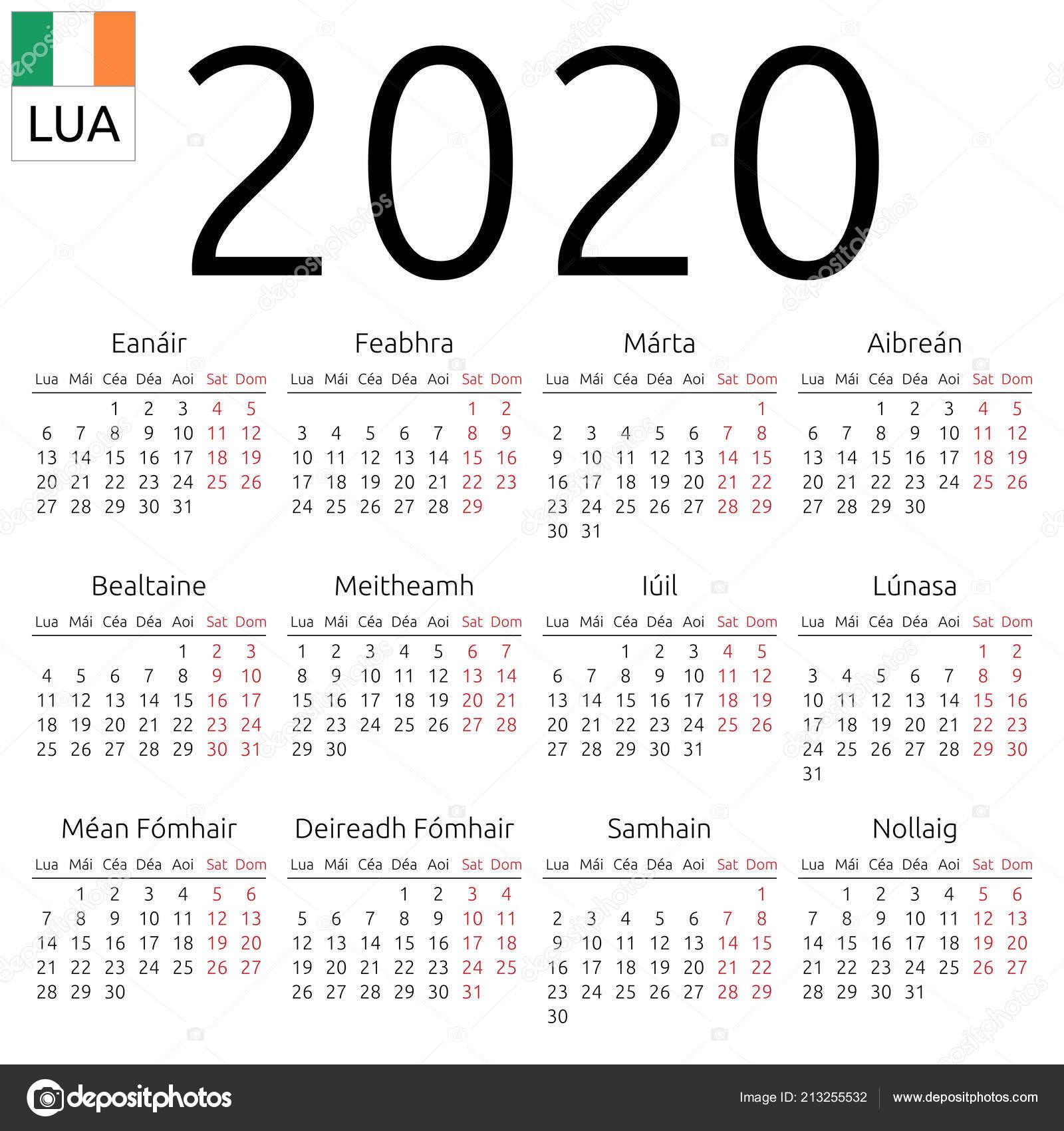 Calendar With Week Numbers 2020.Simple Annual 2020 Year Wall Calendar Irish Language Week Starts