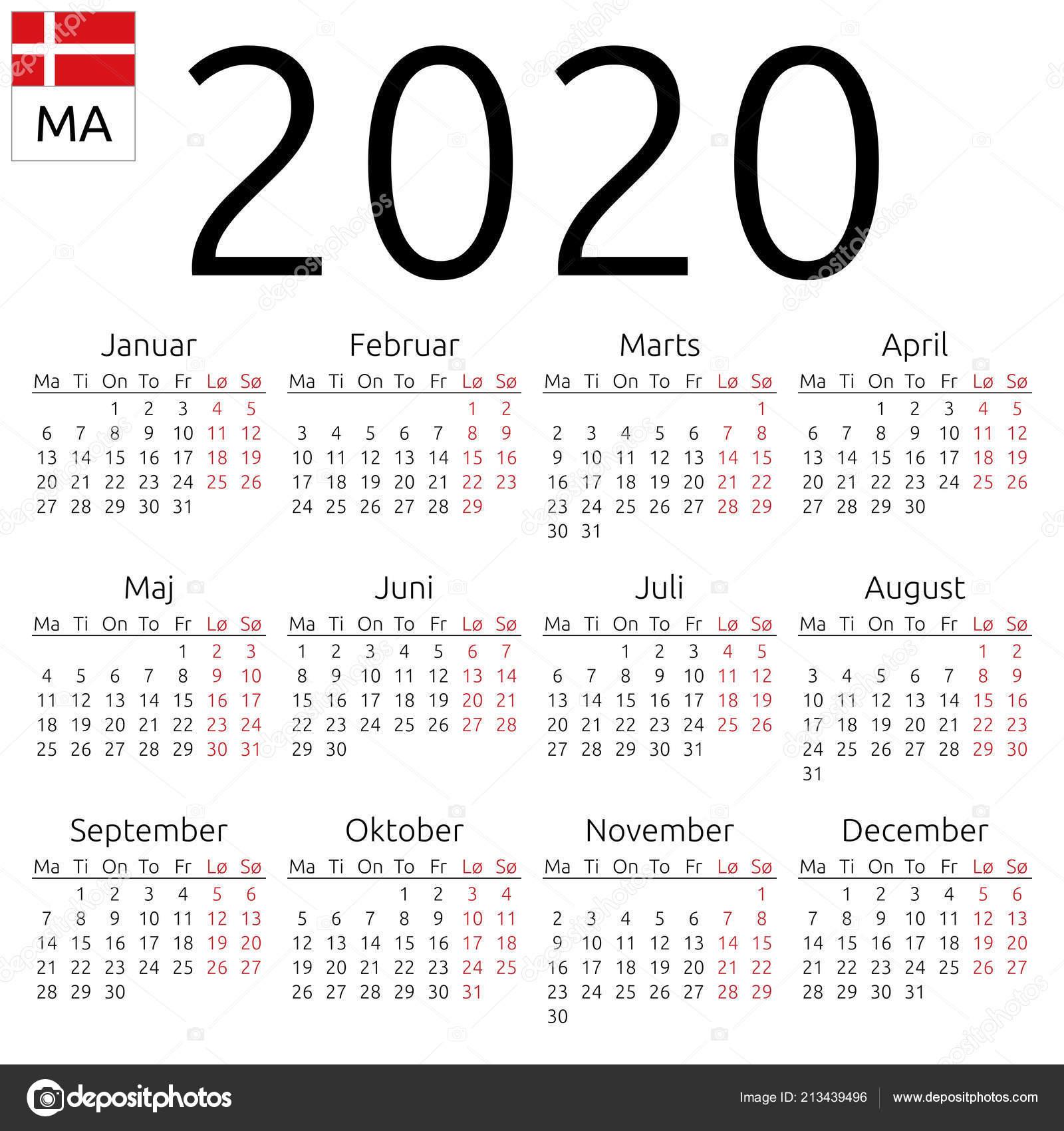 Dias Festivo Calendario 2020 Mexico.Calendario Pared Ano 2020 Anual Simple Lengua Danesa Semana